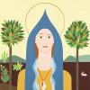Madonna della conchiglia  - 2014 - acrilico su tela - cm 69 x 60