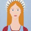 Madonnina con grembiule - 2014 - acrilico su legno - cm 42 x 30