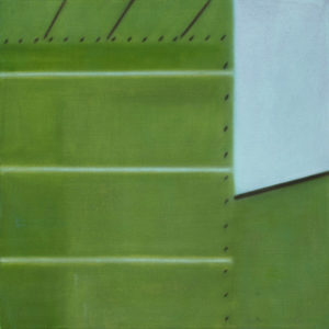 Tre righe su verde, 2016, olio su tela, 50 x 50 cm   19.7 x 19.7 in