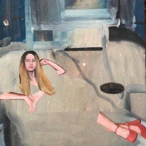 Daniele Galliano, 2019,Non mi ricordo come ti chiami, oil on board,40 x 30,15.7x11.8 in cm, -small