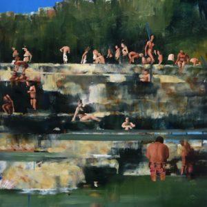 Daniele Galliano, una pazza felicità, oil on canvas, cm100x70-small